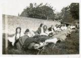 Students sleeping outdoors, Stockbury, 1925