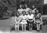 Index card 1941-1943 - Gipsy Hill students in the garden at Bankfield House, Bingley