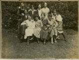 Small brown album - Group photo - students in Gipsy Hill grounds