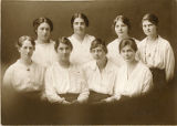 Paper bag - Group photo - eight students in white blouses 1917-19