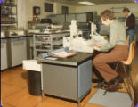 Display boards and general publicity 1970s - Student using an 'Interrogating Typewriter' data processing device