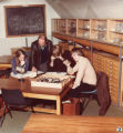 Display boards and general publicity 1970s - Students and lecturer in Geology and Geography classroom