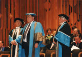 File: Business Graduation - Includes Robert Smith on the left and Dr Robert Godfrey on the right