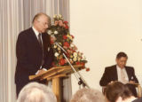 Town House Opening - Reg Bailey giving a speech, Robert Smith sitting to his left