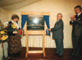 Opening of Kingston Bridge House - Rose Smith and Robert Smith unveiling the Kingston Bridge House plaque