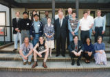 Opening of River House - Group photo taken outside the Town House; includes Frank Lampl