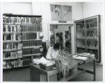 File: Kingston Hill Library, Summer 1982 - Enquiries desk in Knights Park Library